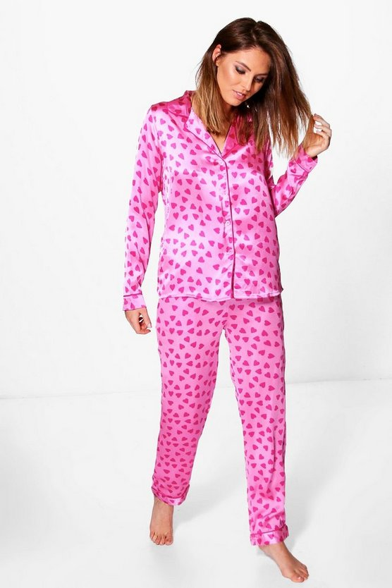 Abi Satin Heart Print Long Sleeve Trouser Set