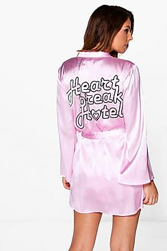 Boutique Amy Heartbreak Slogan Embroidered Satin Robe