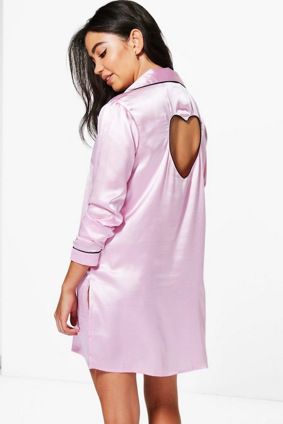 Boutique Penny Satin Cut Out Heart Button Night Shirt