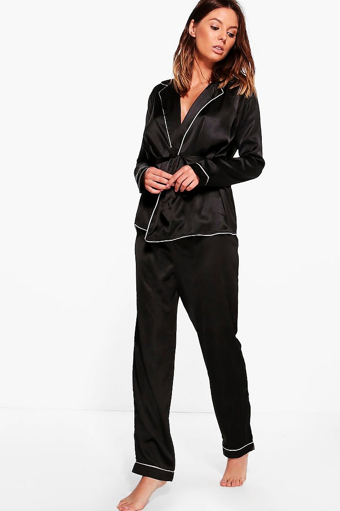 Boutique Eve Satin Robe Front Night Shirt & Trouser PJ Set