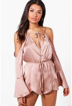 Zena Wrap Front Fluted Sleeve Playsuit
