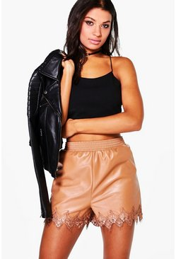 Fabienne Leather Look Lace Trim Shorts
