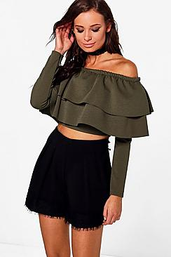 Isa Double Frill Off The Shoulder Crop