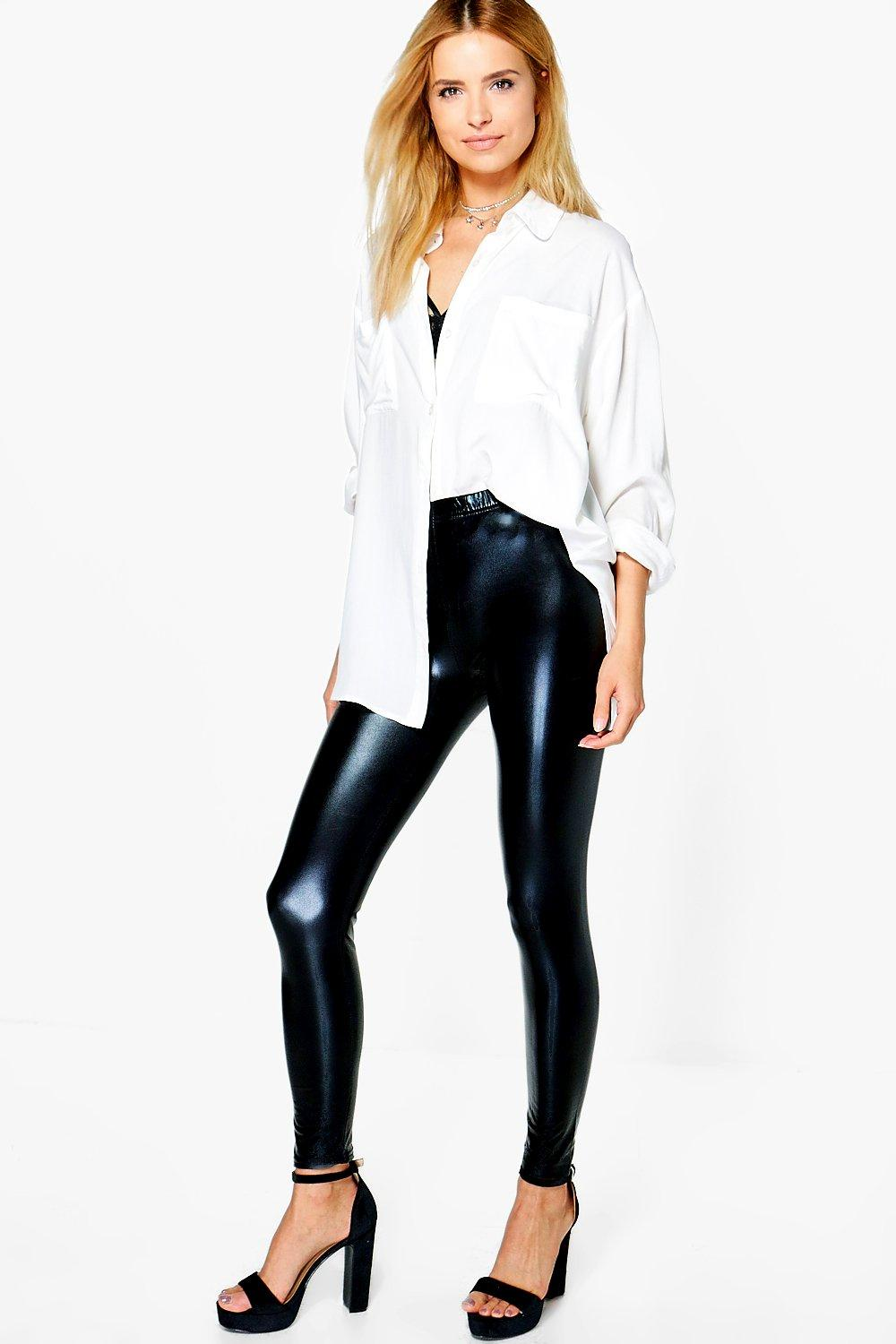 Yazmine Wet Look Leggings black
