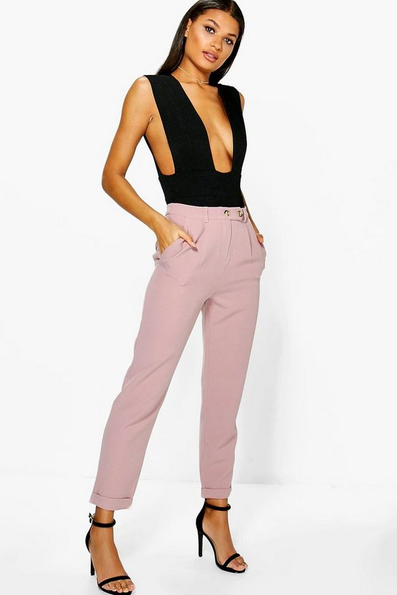 Turn Up Pocket Side Ankle Grazer Trousers