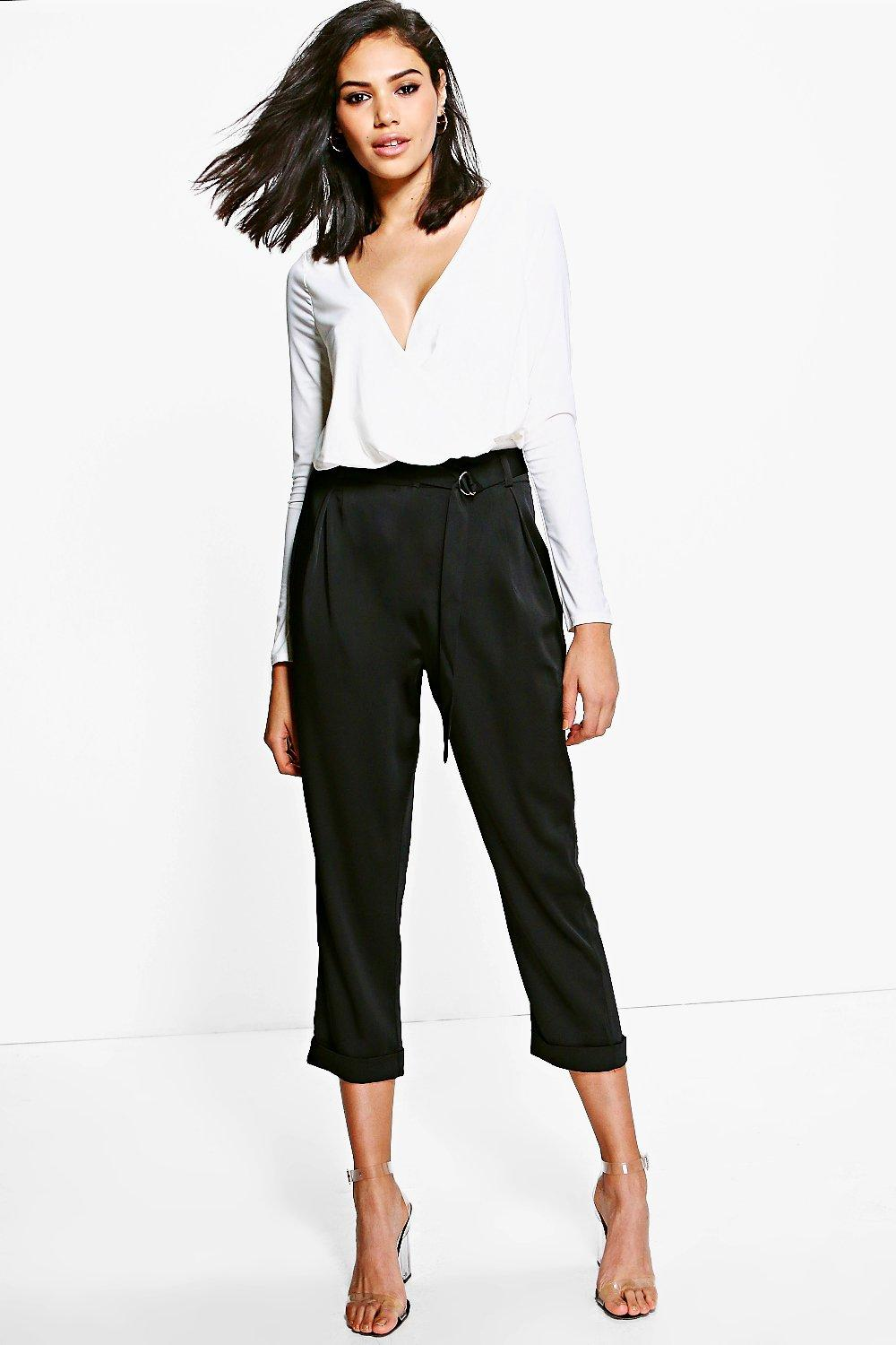 Mia D Ring Belted Cropped Slim Fit Trousers