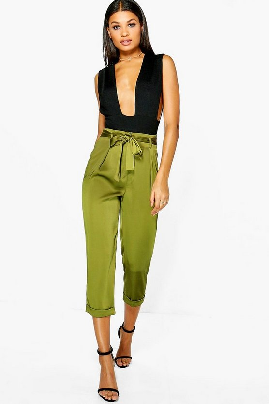 High Waist Belted Cropped Trousers