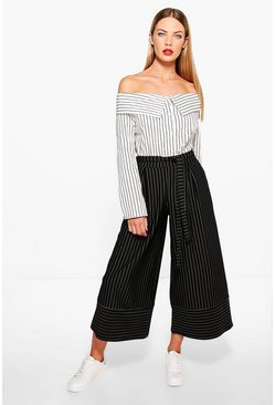 Aria Contrast Pinstripe Wide Leg Cropped Trousers
