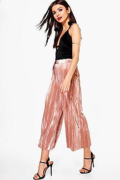 Loren Metallic Pleated Wide Leg Culottes