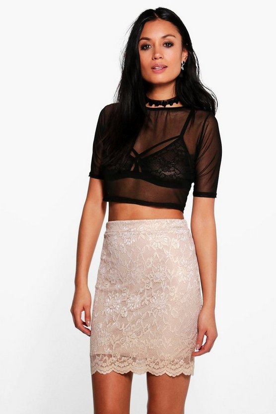 Callie Scalloped Lace Metallic Mini Skirt