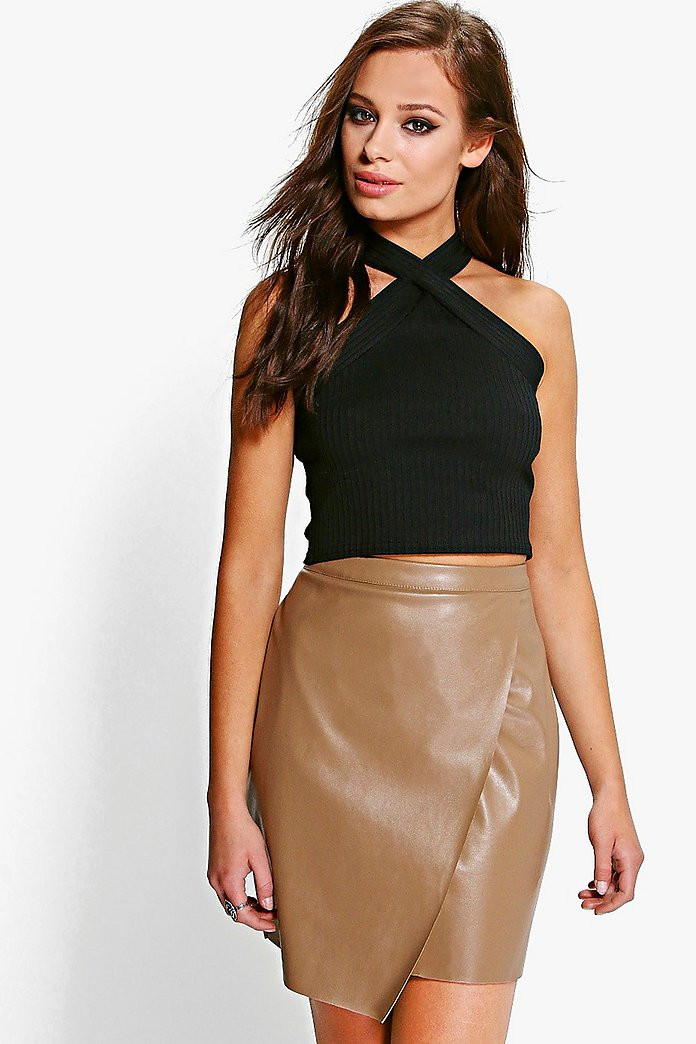 Matilda Leather Look Wrap Front Mini Skirt