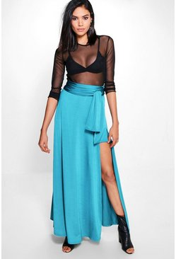 Mila Obi Tie Thigh Split Full Maxi Skirt