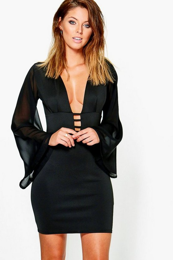 Oana V Neck Chiffon Sleeved Bodycon Dress
