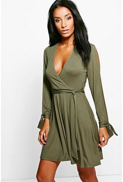 Asia Open Sleeve Tie Detail Wrap Skater Dress