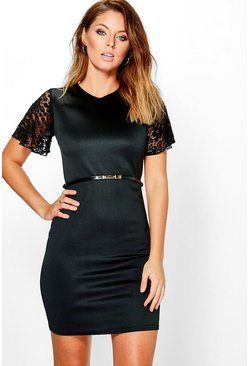 Rachel Lace Sleeve Belted Bodycon Dress