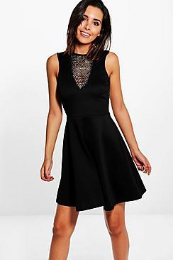 Jackie Deep V Mesh Panel Dress