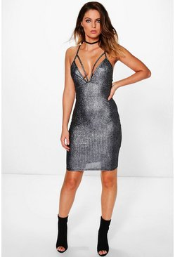 Isabel Ribbed Harness Strappy Bodycon Dress