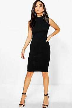 Georgia Crepe Mesh Panel Bodycon Dress