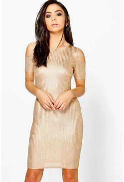 Lucy Rib Cold Shoulder Dress