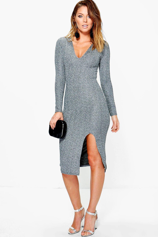 Rebecca Deep Plunge Side Slit Midi Dress | Boohoo