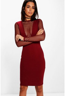 Lottie Long Sleeved Fishnet V Neck Midi Dress
