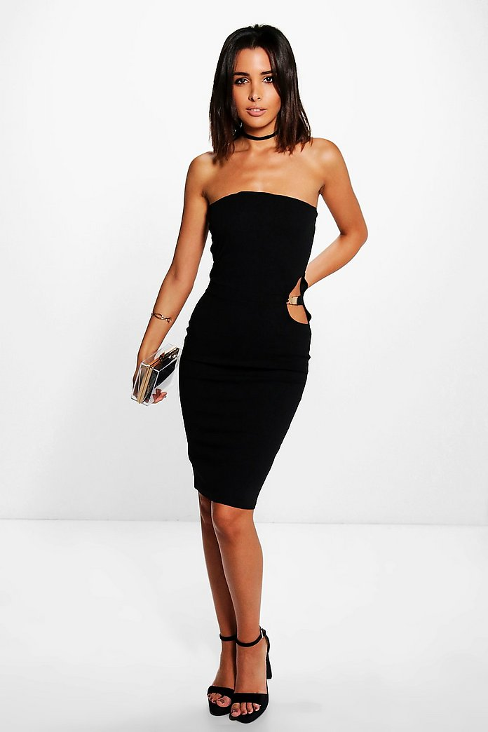 Freyja Cut Out Bandeau Tube Midi Dress