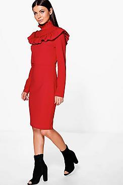 Keely High Neck Ruffle Midi Dress
