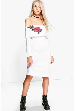 Becca Applique Flower Bardot Sweat Dress