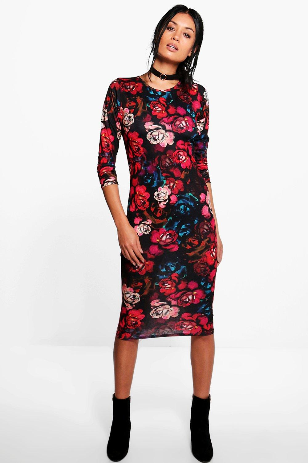 Jenny Floral Print Bodycon Dress