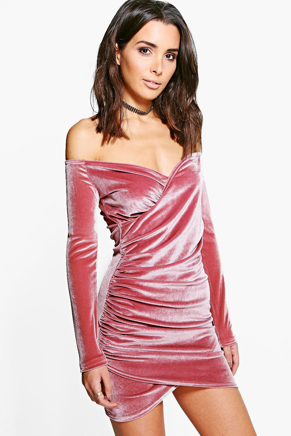 Jenna Velvet Off Shoulder Bodycon Dress