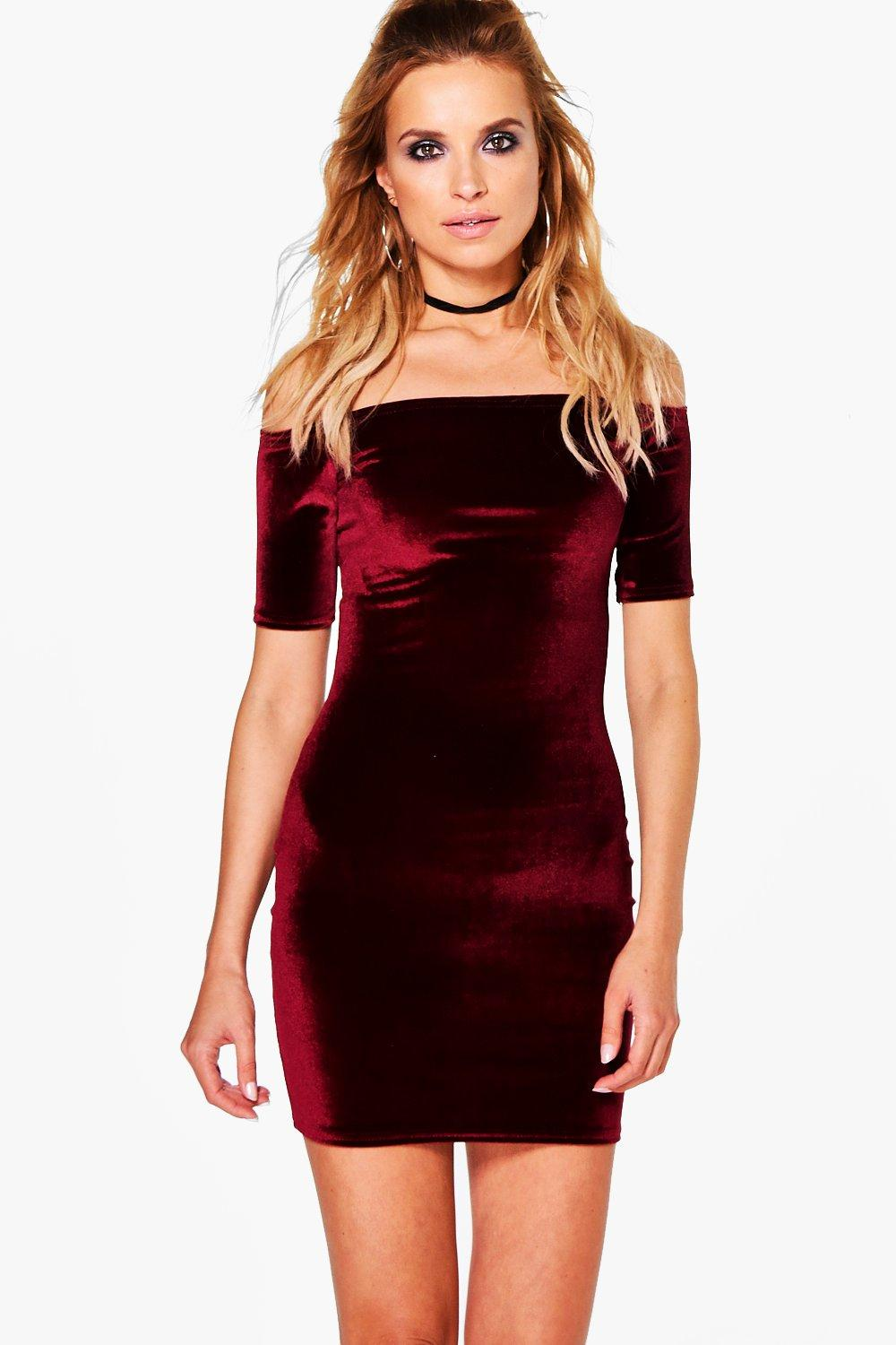 1/2 Sleeve Velvet Bodycon Dress - berry