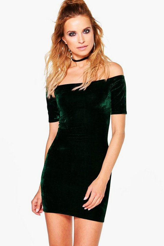 Jayne 1/2 Sleeve Velvet  Bodycon Dress