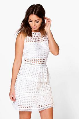 James Lace Peplum Hem Bodycon Dress