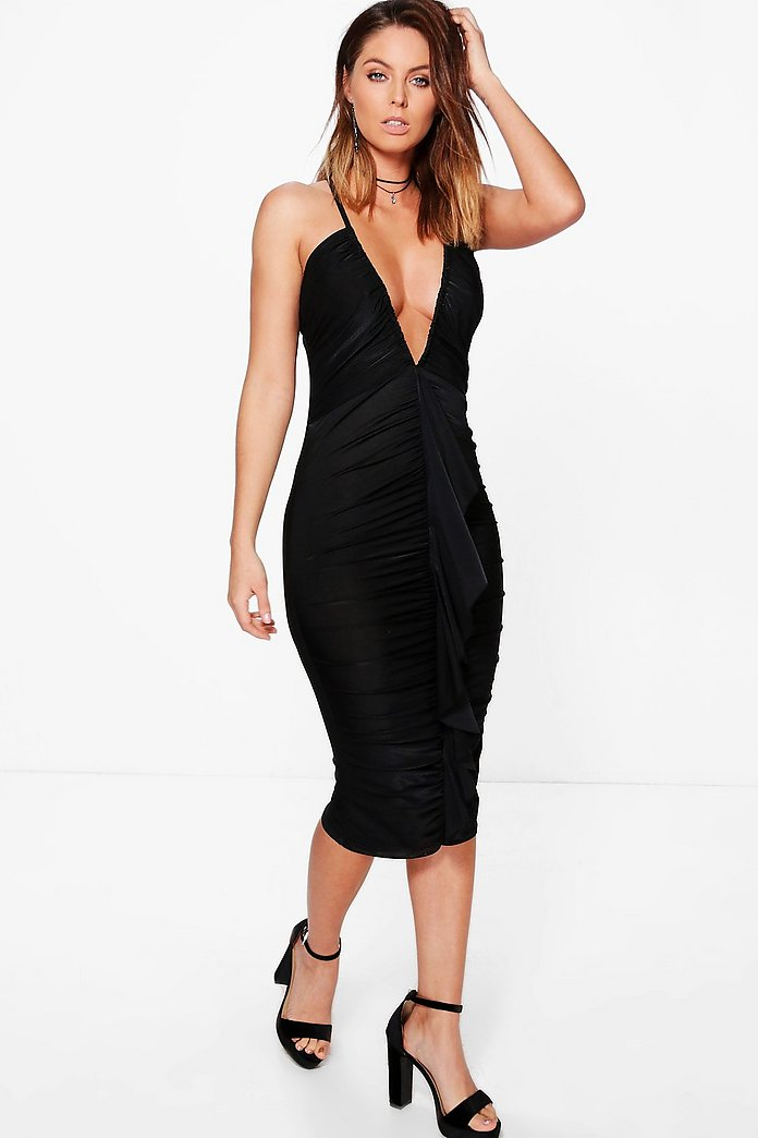 Immie Plunge Ruched Frill Slinky Midi Dress