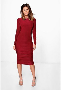 Honor Long Sleeve Wrap Bodycon Dress