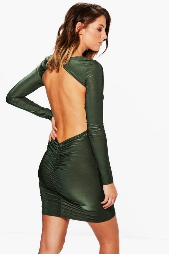 Honey Slinky Back Ruched Bodycon Dress