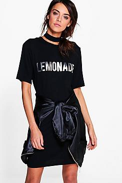 Holi Lemonade Metallic Choker T-Shirt Dress