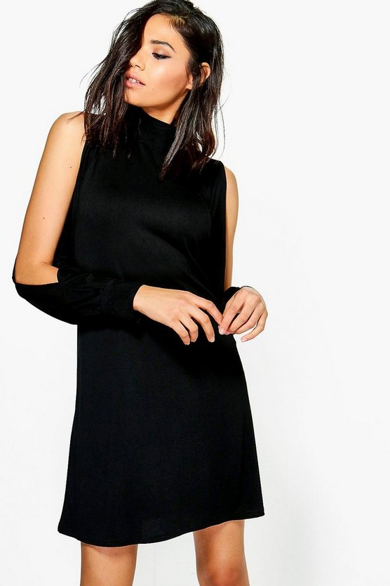 Hedda High Neck Split Sleeve Swing Dress