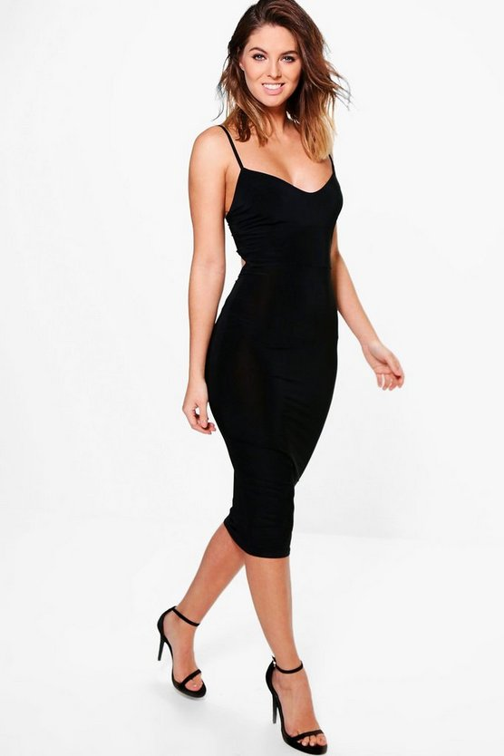 Hazel Strappy Seam Panel Slinky Midi Dress