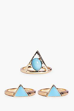 Isabella Mixed Triangle Stone Ring Pack