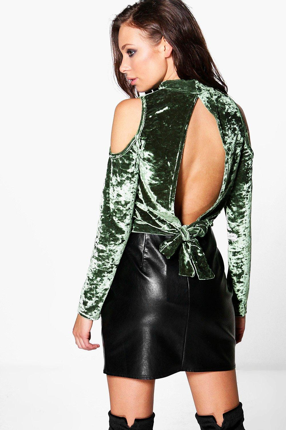 Jenna Crushed Velvet Open Back Crop