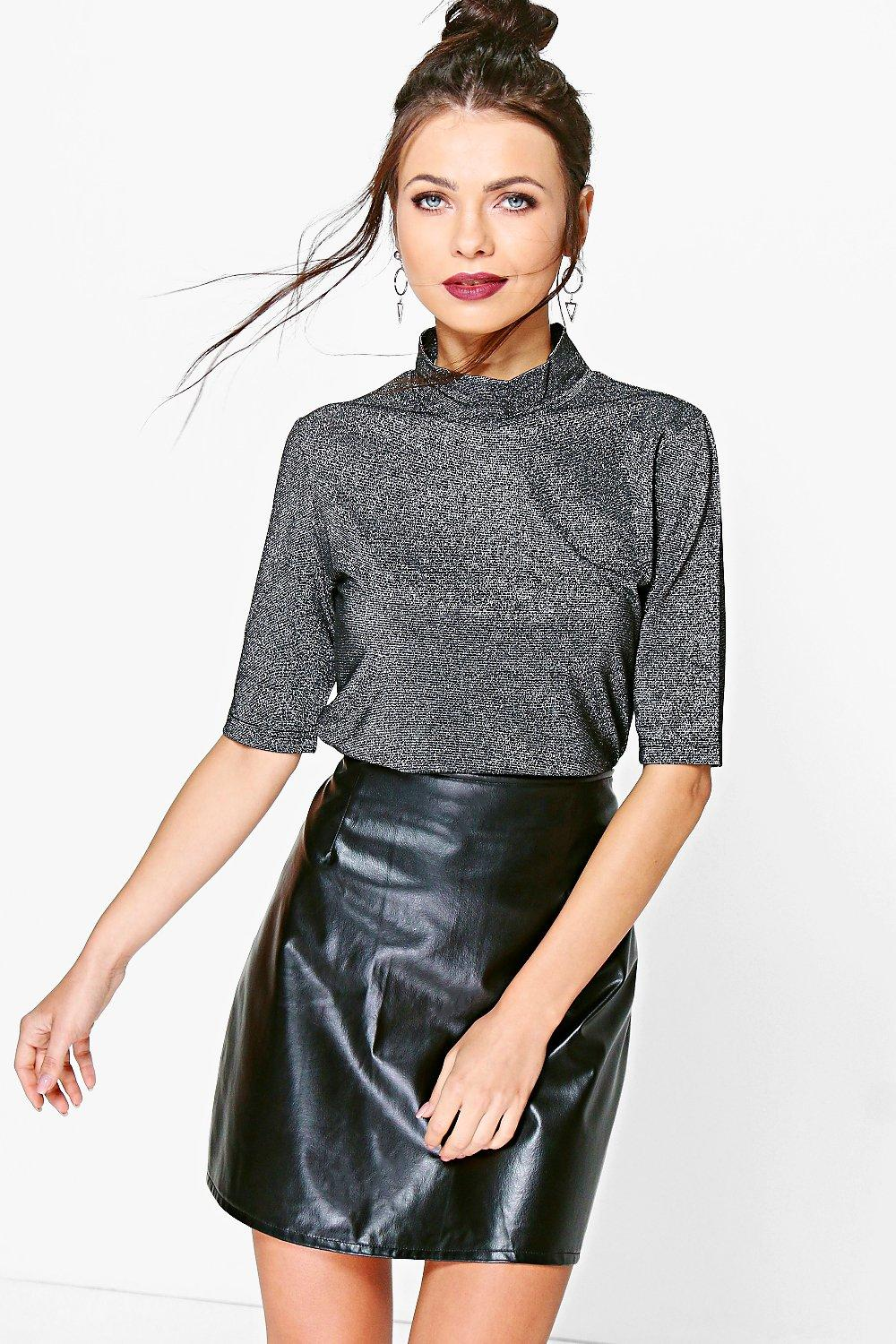 Amy Metallic Roll Neck Top