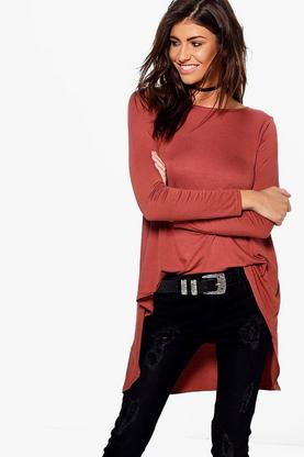 Darla Dip Back Long Sleeve Top