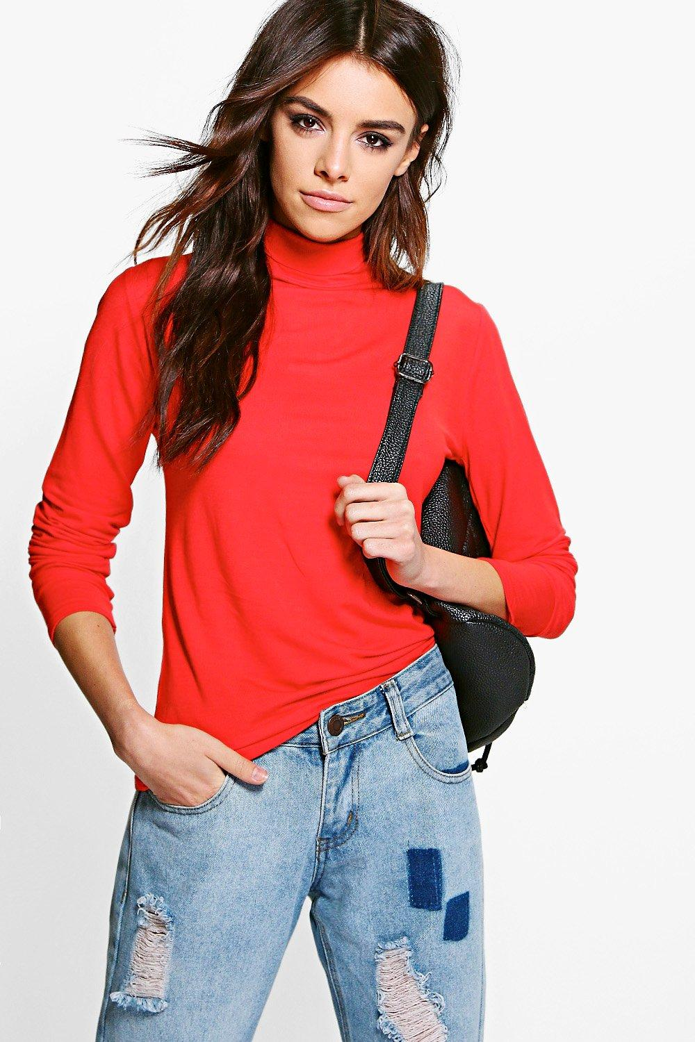Becky Basic Roll Neck Long Sleeve Top