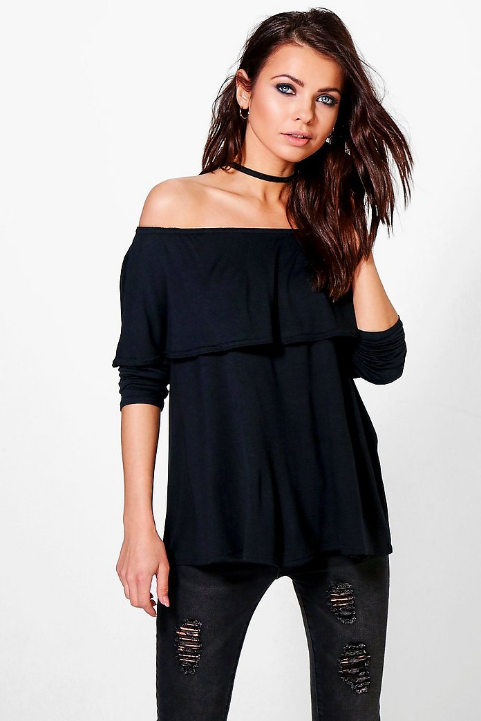 Beth Long Sleeve Frill Bardot Top