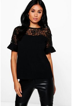 Ethel Lace Panel Frill Sleeve Top