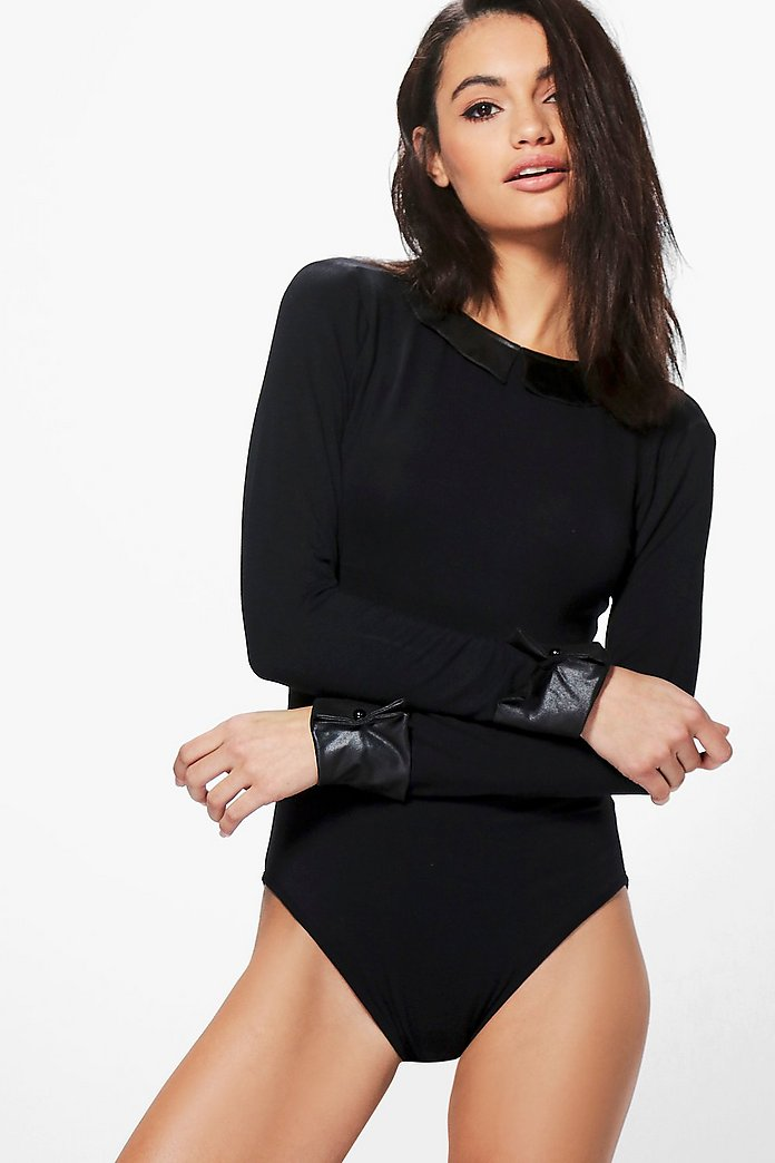 Crystal Collar and Cuff Bodysuit