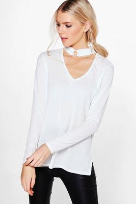 Sabrina Long Sleeve Rib Choker Trim Top