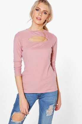 Jasmine Cut Out Rib Long Sleeve Top