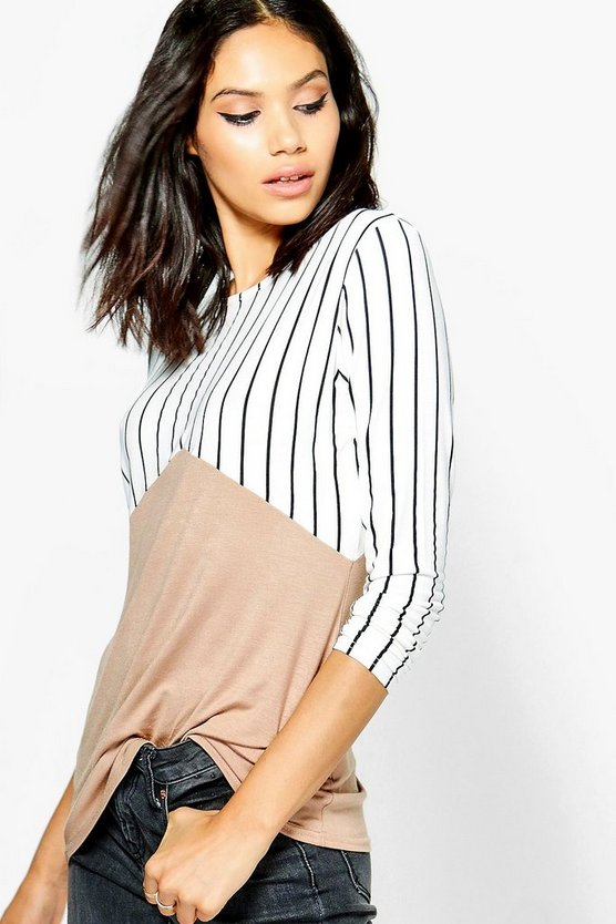 Leona Stripe Contrast Colour Block T-Shirt